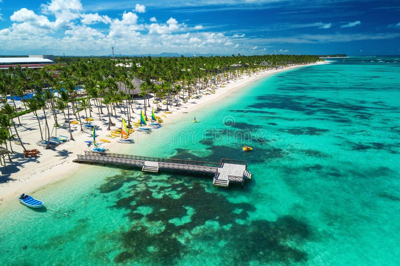 Aerial drone view of Caribbean resort Bavaro, Punta Cana, Dominican Republic . royalty free stock image