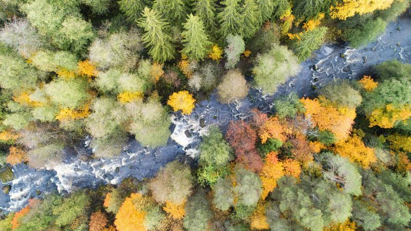 Aerial drone view of colorful forest, blue river and rocks. Beautiful autumn landscape. stock photography
