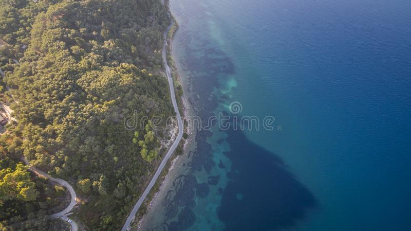 Aerial drone view of Corfu shoreline. Amazing Greece royalty free stock photo