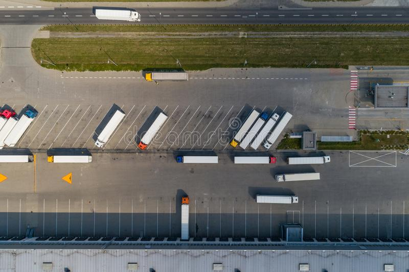 Aerial drone view on distribution center. Logistic and transport concept royalty free stock photos
