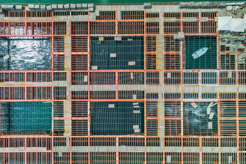 Aerial top View of Farm on Cultivation of Seashells, Bulgaria stock photography