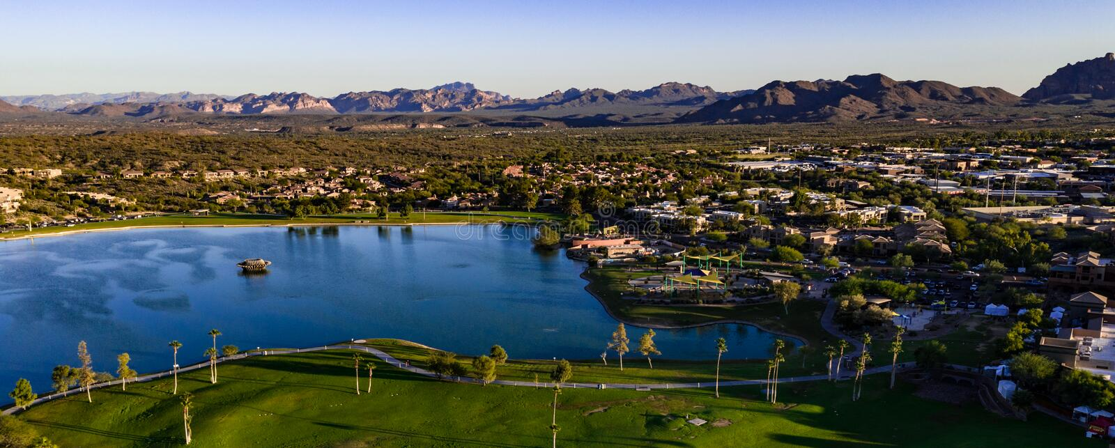 Aerial, Drone View of Fountain Hills, Arizona royalty free stock image