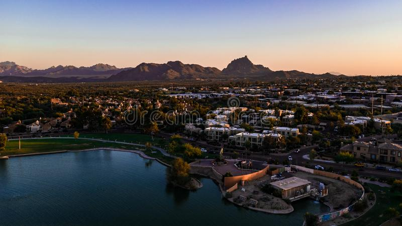 Aerial, Drone View of The Fountain Hills Park Fountain royalty free stock image