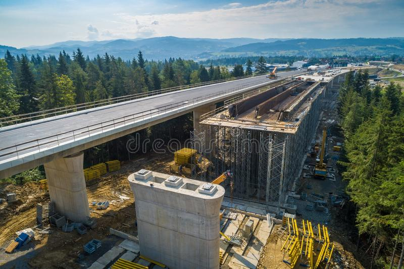 Aerial drone view on highway road under construction. stock images