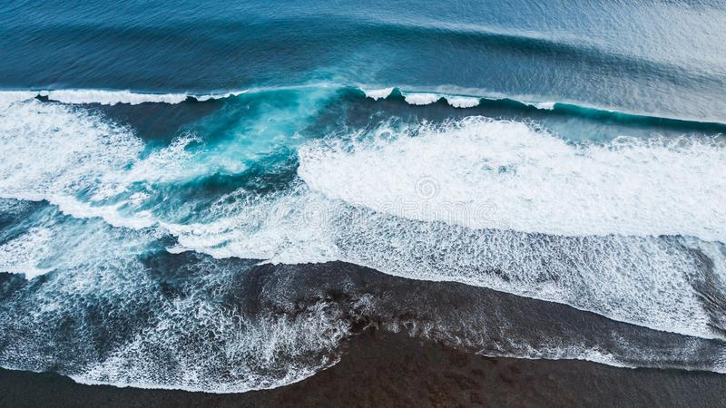 Aerial drone view of huge ocean waves stock photo