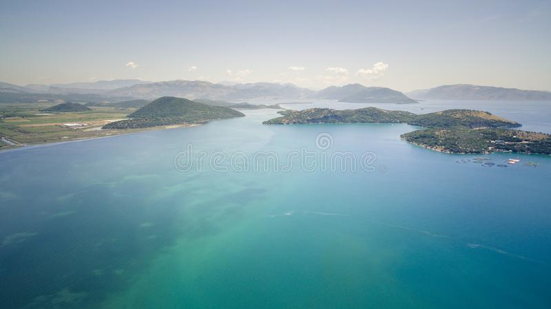 Aerial drone view of Kalamas beach and landscape outside Corfu Island.Greece. Aerial drone view of Kalamas beach and landscape outside Corfu Island.Amazing royalty free stock image