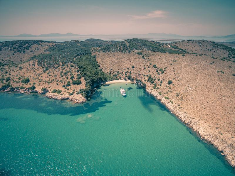 Aerial drone view of Kalamas beach and landscape outside Corfu Island.Greece. Aerial drone view of Kalamas beach and landscape outside Corfu Island.Amazing stock images