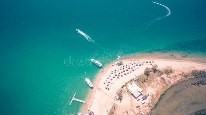 Aerial drone view of Kalamas beach and landscape outside Corfu Island.Greece. Amazing.Panorama stock image