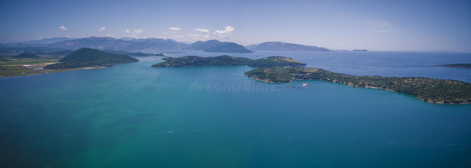 Aerial drone view of Kalamas beach and landscape outside Corfu Island.Greece. Amazing.Panorama royalty free stock photography
