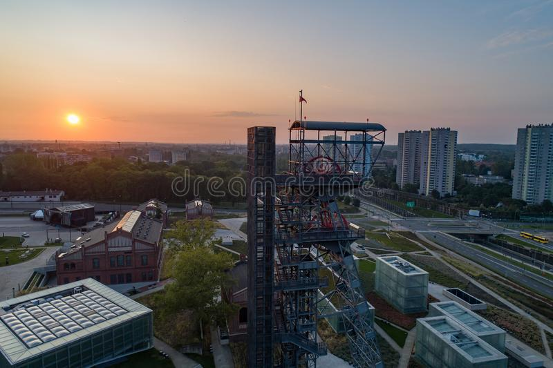 Aerial drone view of katowice at sunrise and Silesian museum building. S. Katowice, Silesia, poland royalty free stock image