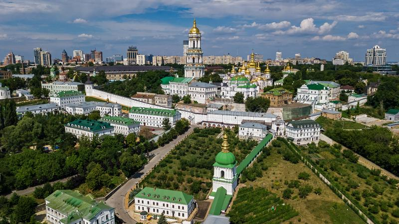 Aerial drone view of Kiev Pechersk Lavra churches on hills from above, cityscape of Kyiv city, Ukraine stock photos