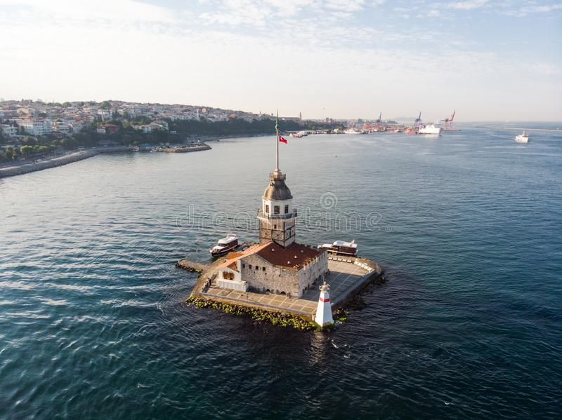 Aerial Drone View of Maiden`s Tower in Uskudar Istanbul / Kiz Kulesi. Historic Building stock photography