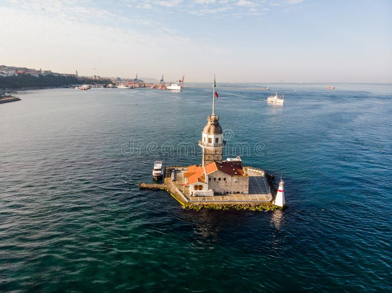 Aerial Drone View of Maiden`s Tower in Uskudar Istanbul / Kiz Kulesi. Historic Building stock photo