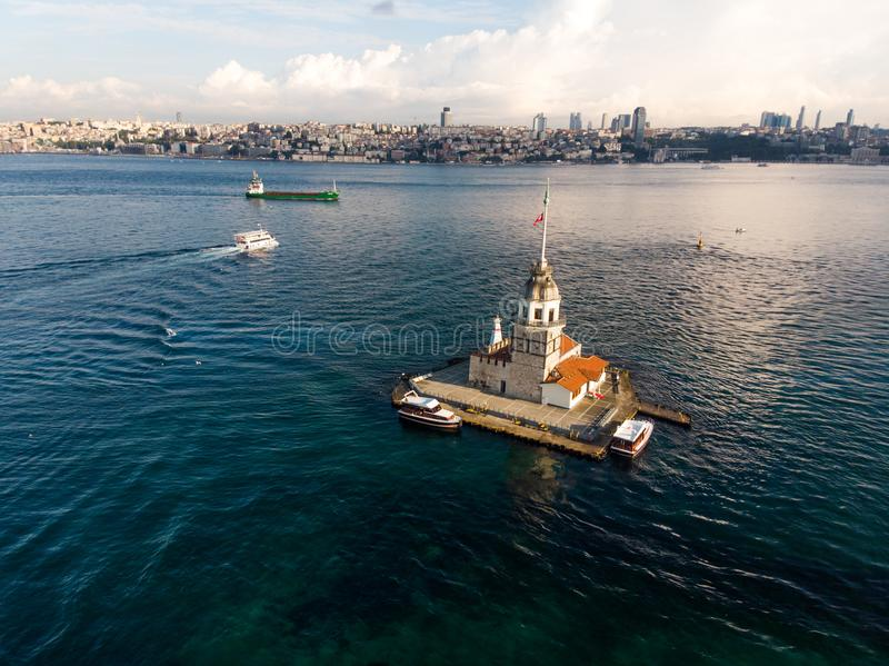 Aerial Drone View of Maiden`s Tower in Uskudar Istanbul / Kiz Kulesi. Historic Building royalty free stock images