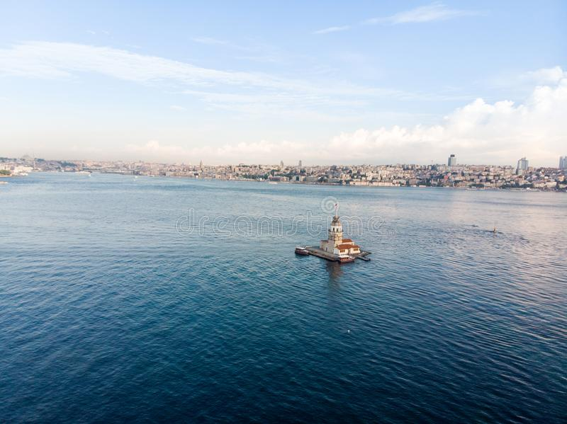 Aerial Drone View of Maiden`s Tower in Uskudar Istanbul / Kiz Kulesi. Historic Building royalty free stock image