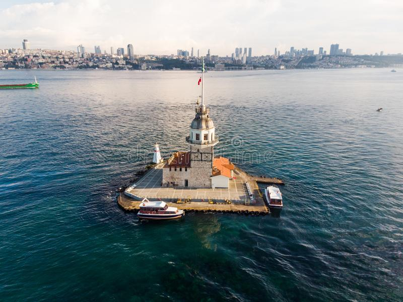 Aerial Drone View of Maiden`s Tower in Uskudar Istanbul / Kiz Kulesi. stock images