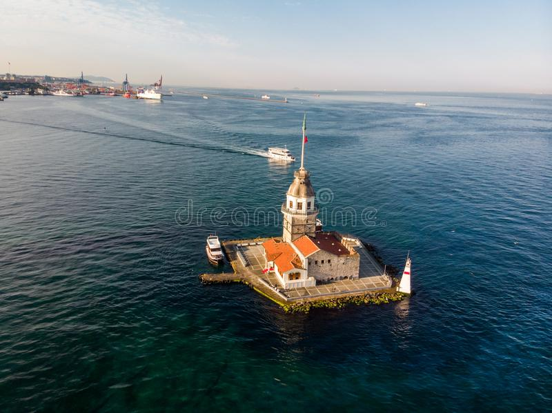 Aerial Drone View of Maiden`s Tower in Uskudar Istanbul / Kiz Kulesi. Historic Building stock images