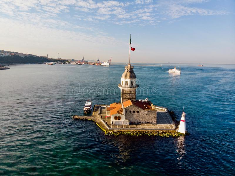 Aerial Drone View of Maiden`s Tower in Uskudar Istanbul / Kiz Kulesi. Historic Building stock image