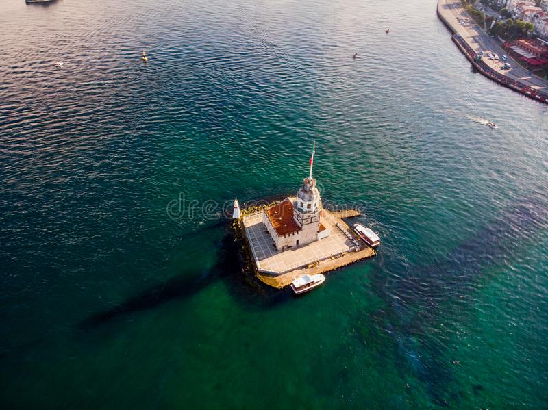 Aerial Drone View of Maiden`s Tower in Uskudar Istanbul / Kiz Kulesi. Historic Building royalty free stock photography