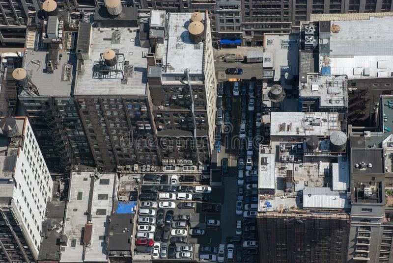 Aerial or drone view of Manhattan skyscrapers and roofs, New York City stock images