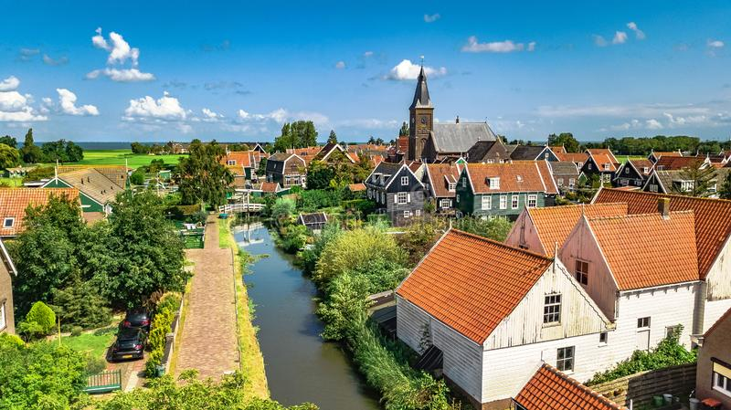 Aerial drone view of Marken island, traditional fisherman village, typical Dutch landscape, North Holland, Netherlands royalty free stock image