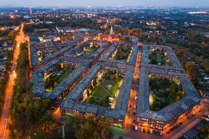 Aerial drone view on Nikiszowiec coal miners` settlement and district in Katowice. Katowice, Silesia, Poland stock image