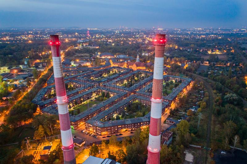Aerial drone view on Nikiszowiec coal miners` settlement and district in Katowice. Katowice, Silesia, Poland stock photography