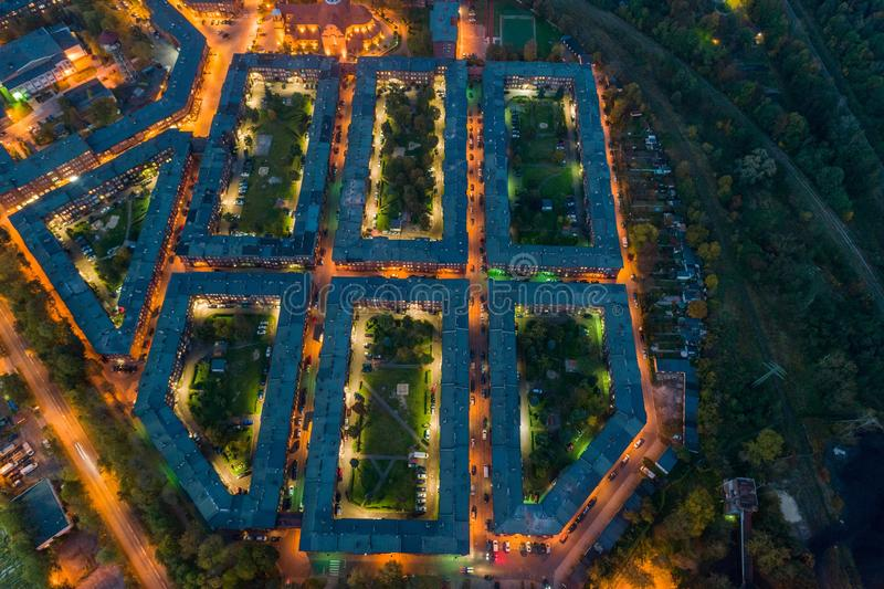 Aerial drone view on Nikiszowiec coal miners` settlement and district in Katowice. Katowice, Silesia, Poland stock photo