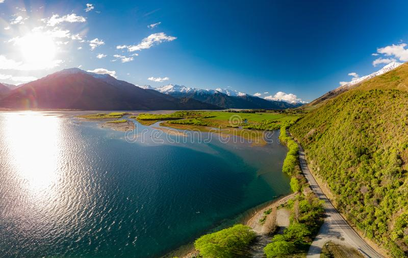 Aerial drone view, north side of Lake Wanaka at Makarora, South Island, New Zealand royalty free stock photos