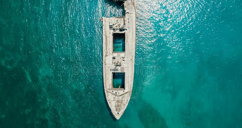 Aerial Drone View Of Old Shipwreck Ghost Ship. Vessel royalty free stock image