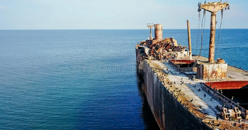Aerial Drone View Of Old Shipwreck Ghost Ship. Vessel stock image