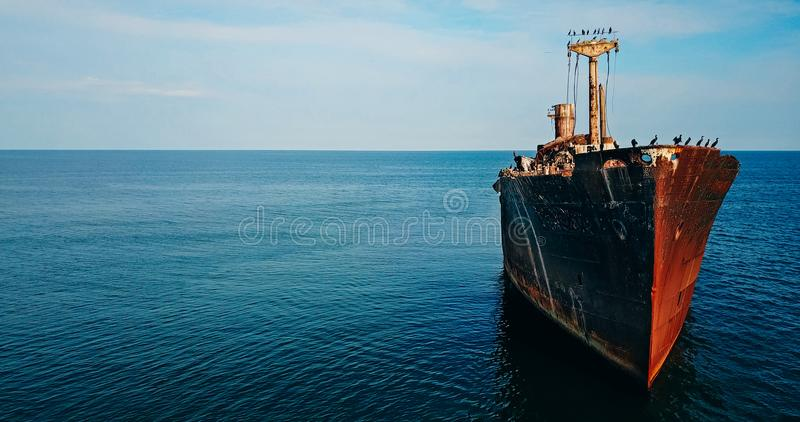 Aerial Drone View Of Old Shipwreck Ghost Ship. Vessel royalty free stock photos