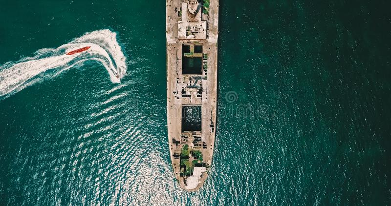 Aerial Drone View Of Old Shipwreck Ghost Ship. Vessel royalty free stock photography