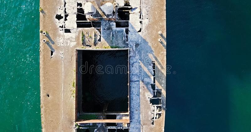 Aerial Drone View Of Old Shipwreck Ghost Ship. Vessel stock photography