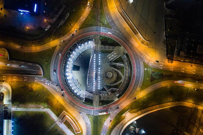 Aerial drone view of roundabout in Katowice at night. royalty free stock photography