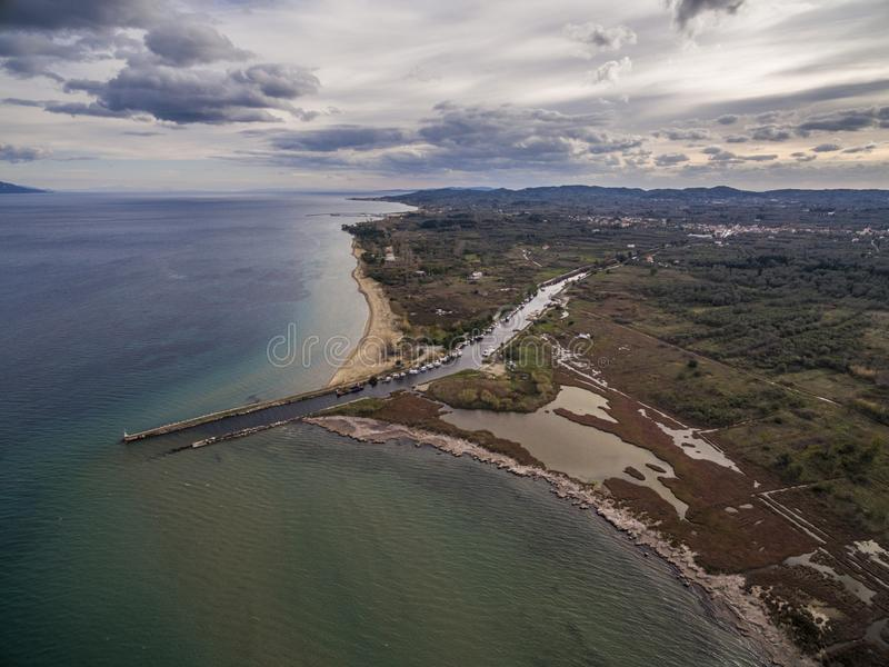 Aerial drone view of the sea and marsh land. .Amazing Greece stock photography