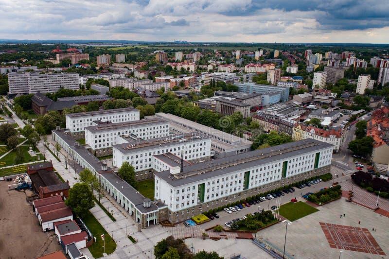 Aerial drone view on Silesian University of Technology. Politechnika Slaska, Gliwice, Silesia, Poland stock images