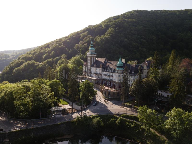 Aerial drone view to Lillafured Castle in Hungary in Bukk National Park stock photography