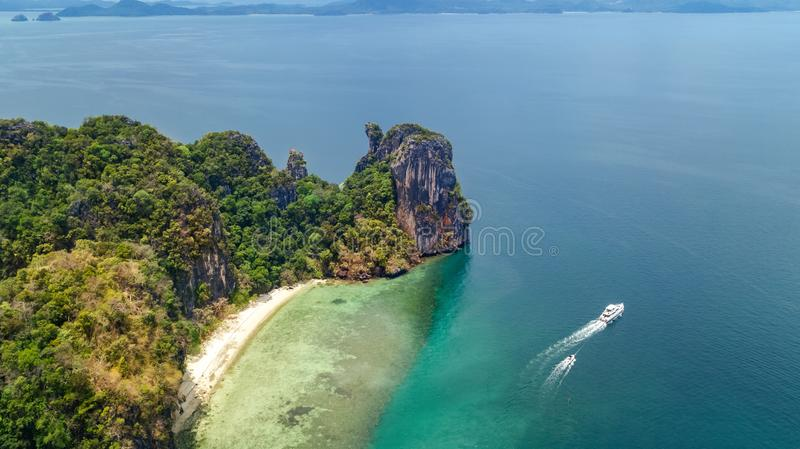 Aerial drone view of tropical Koh Hong island in blue clear Andaman sea water from above, beautiful archipelago islands royalty free stock image