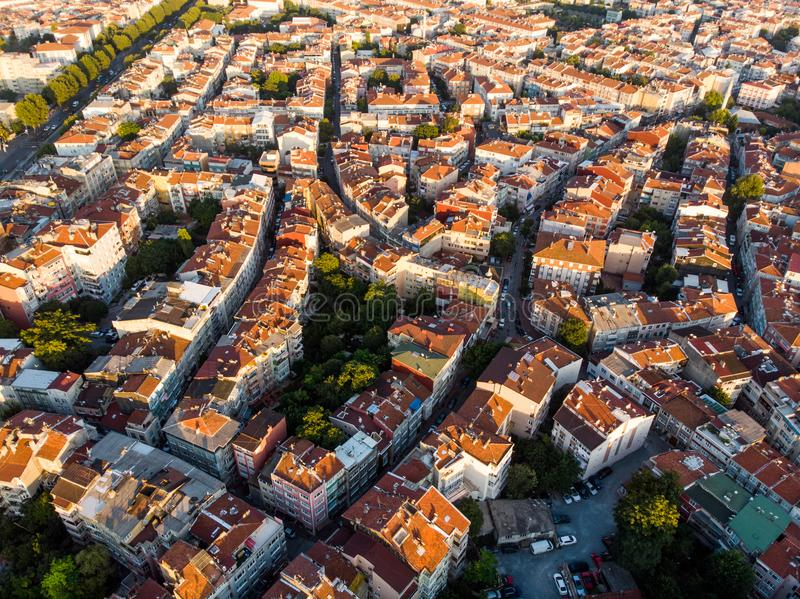 Aerial Drone View of Unplanned Urbanization Istanbul Capa Sehremini Aksaray / Turkey. Cityscape stock photos