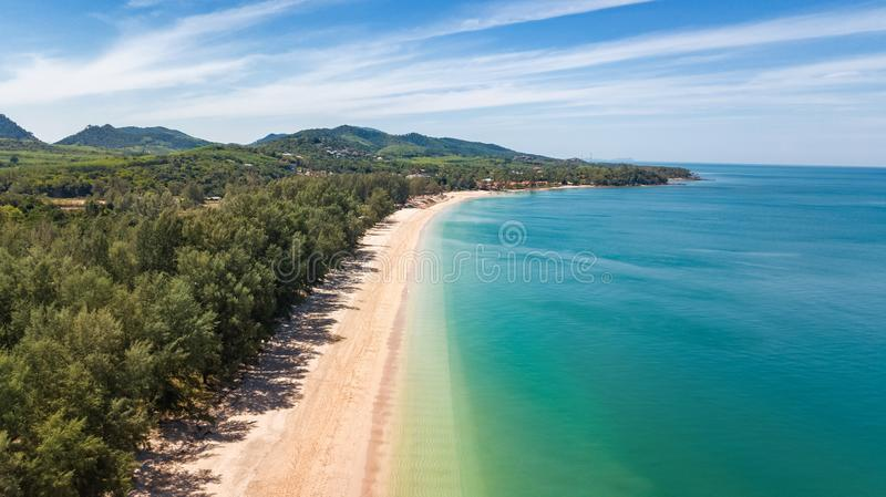 Aerial drone view of white sand tropical beach and Andaman sea from above, Koh Lanta island, Thailand stock image