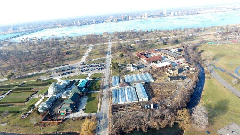 Aerial Drop Top View of Belle Aisle Aquarium stock photography