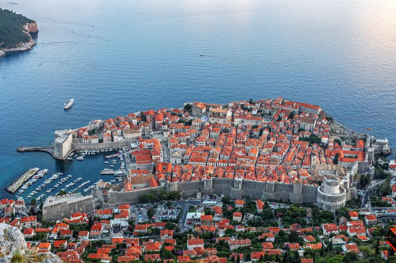 Aerial of Dubrovnik, Croatia stock photography