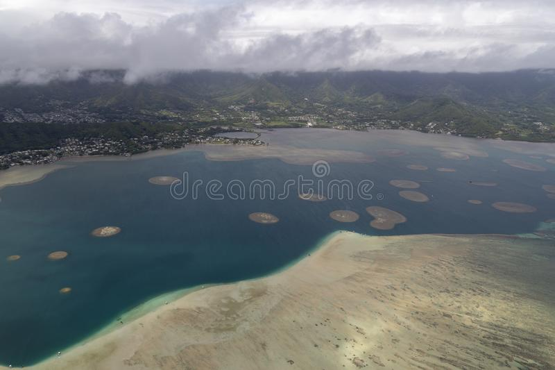 Aerial of the East side Oahu Hawaii stock photo