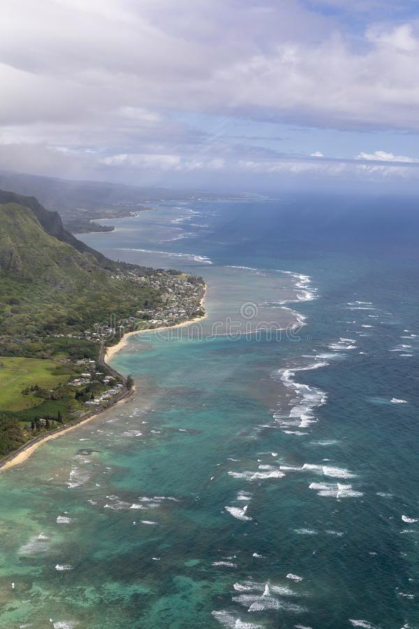 Aerial of the East side Oahu Hawaii royalty free stock image