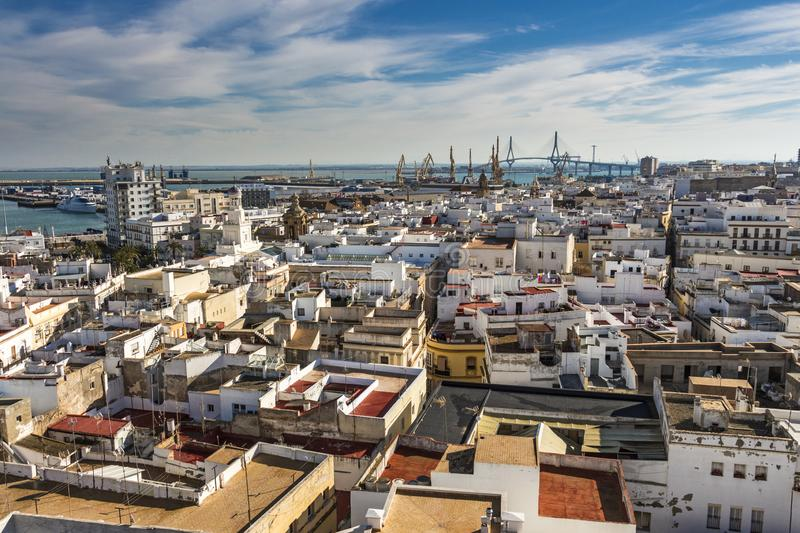 Aerial east view of buildings near Port of the Bay of Cadiz stock photography