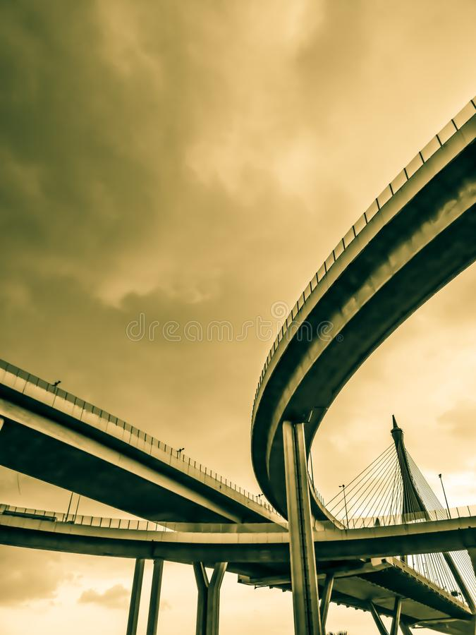 Aerial express way and bypass road symbol of modernity, futuristic urban background. Aerial express way and bypass road, sky train overpass, suspension bridge royalty free stock photo