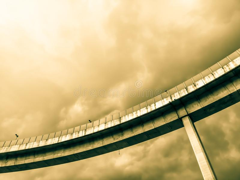 Aerial express way and bypass road symbol of modernity, futuristic urban background. Aerial express way and bypass road, sky train overpass, suspension bridge stock images