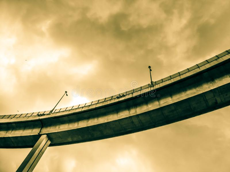 Aerial express way and bypass road symbol of modernity, futuristic urban background. Aerial express way and bypass road, sky train overpass, suspension bridge stock photos