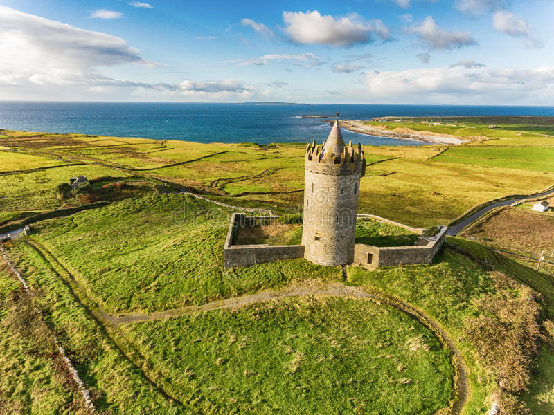 Aerial Famous Irish Tourist Attraction In Doolin, County Clare, Ireland. Doonagore Castle is a round 16th-century tower Castle. Aran Islands and along The Wild royalty free stock photo